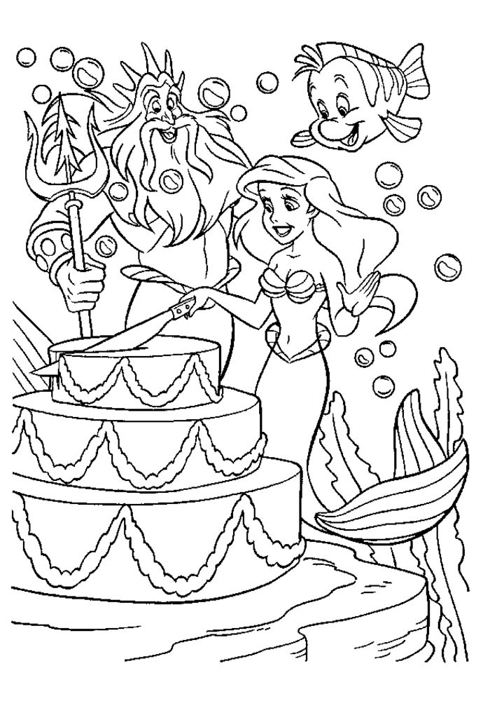 Распечатать раскраски для девочек русалочка