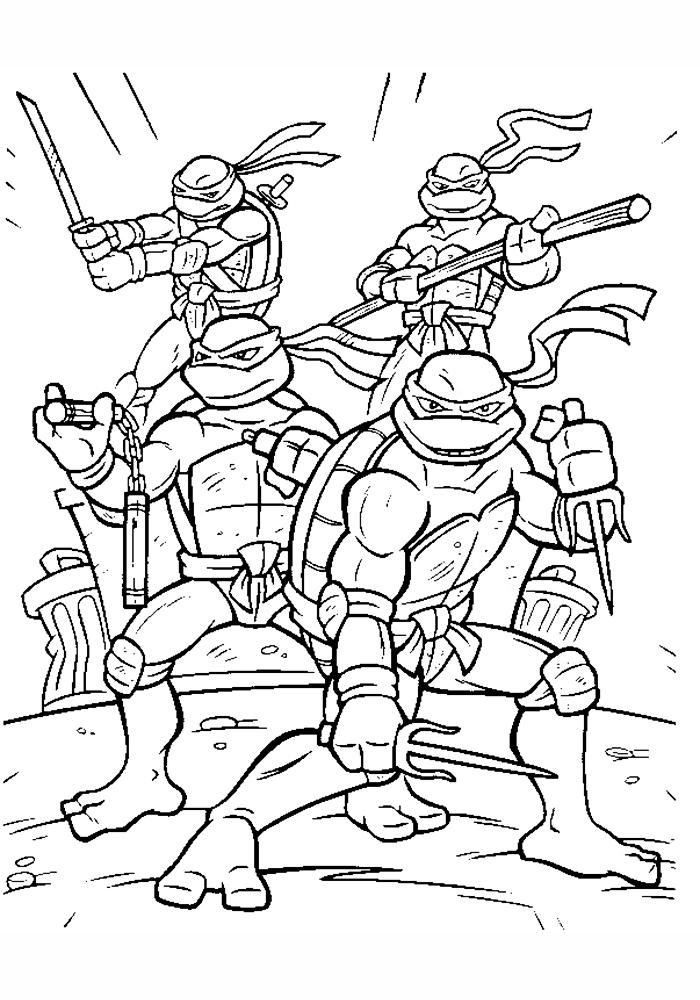 Раскраска для мальчиков черепашки онлайн бесплатно
