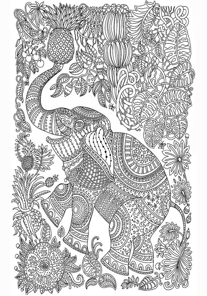 Раскраска антистресс слон распечатать