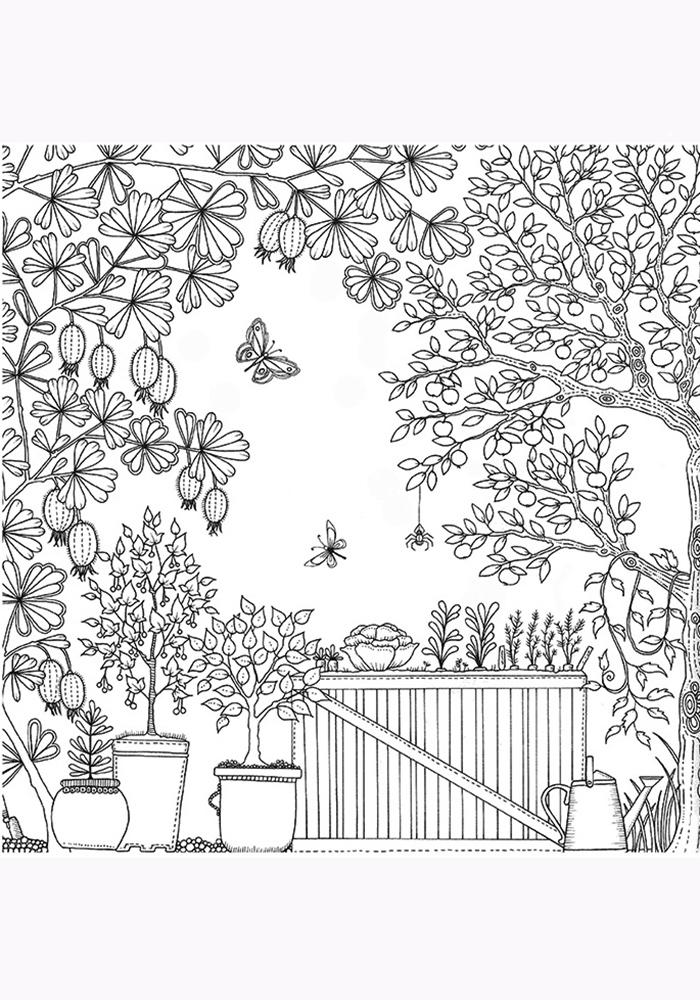 Антистрессовые раскраски сад 105