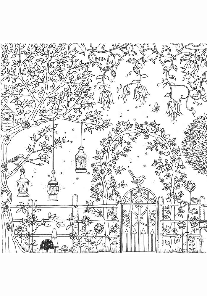 Антистрессовые раскраски сад 138