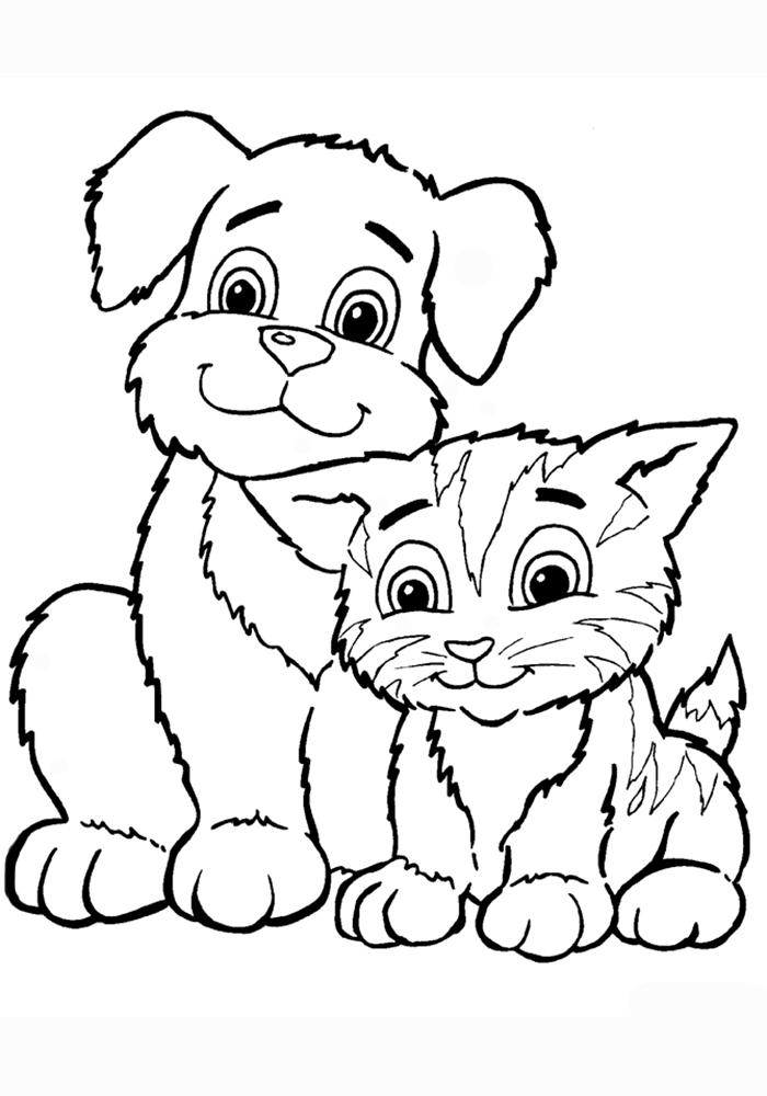 Раскраски щенки милые и красивые