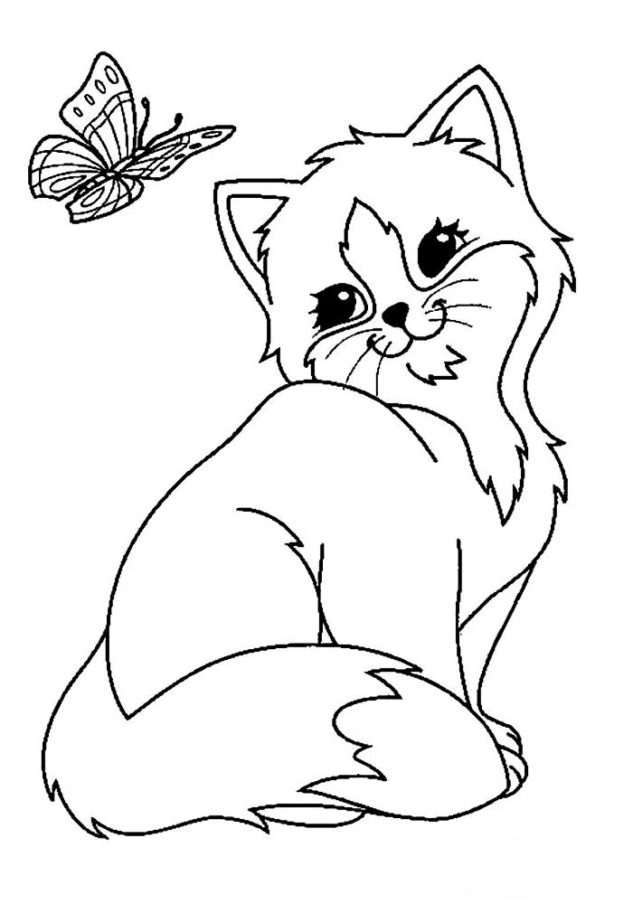 Раскраски котята распечатать на весь лист