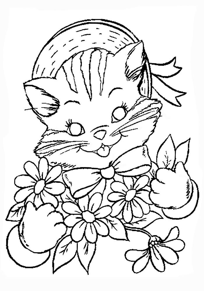 Милые котята для раскраски
