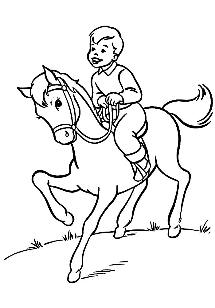 Конь с мальчиком раскраска