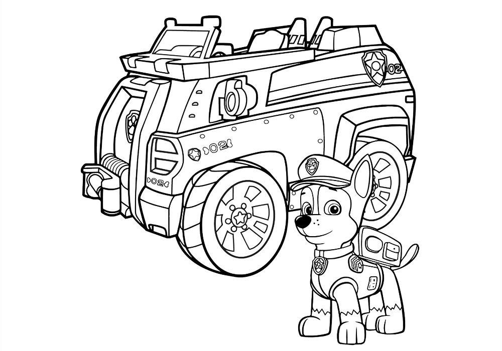 Раскраска гонщик из щенячий патруль