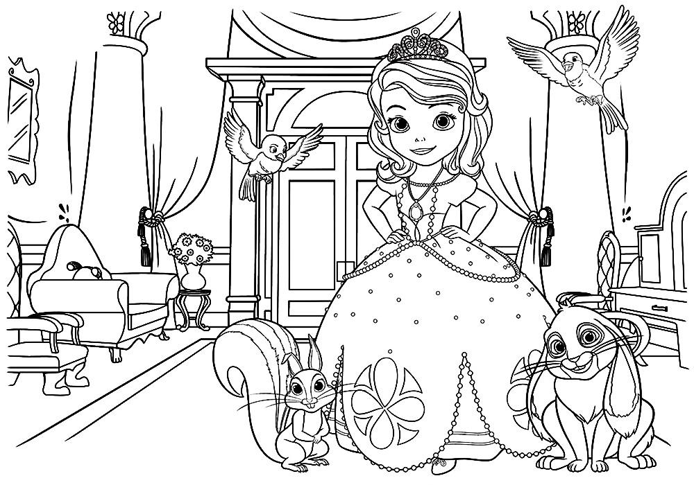 Принцесса София раскраска распечатать