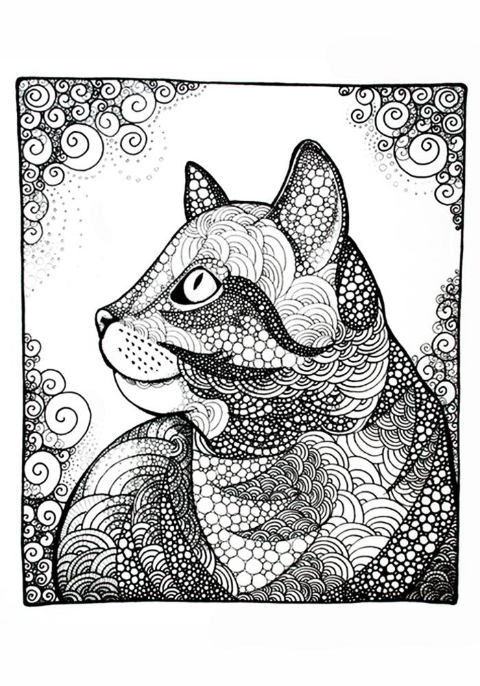 Раскраска антистресс фантастические кошки распечатать