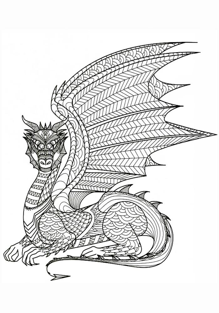 Раскраски антистресс скачать бесплатно драконы