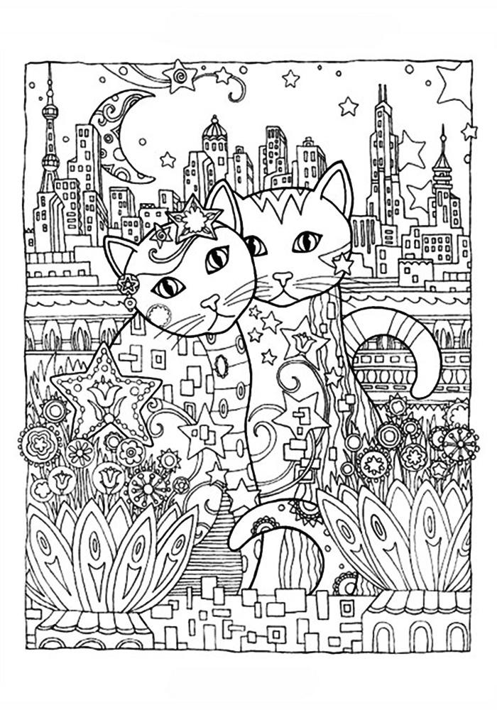 Раскраски антистресс коты и кошки