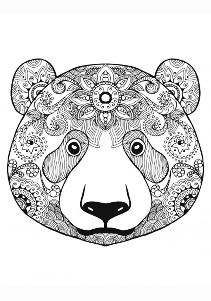 Раскраска антистресс медведь