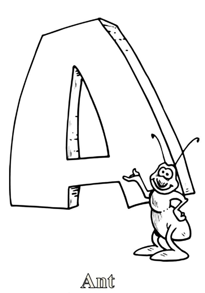 Раскраска английский алфавит в картинках распечатать