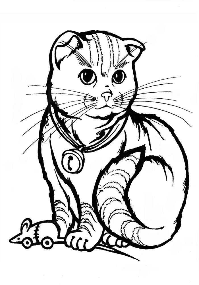 Раскраска кошка с мышкой