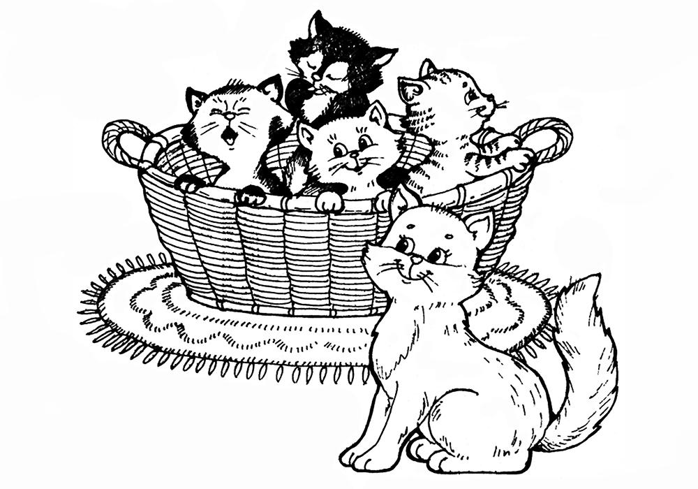 Раскраски про котиков распечатать