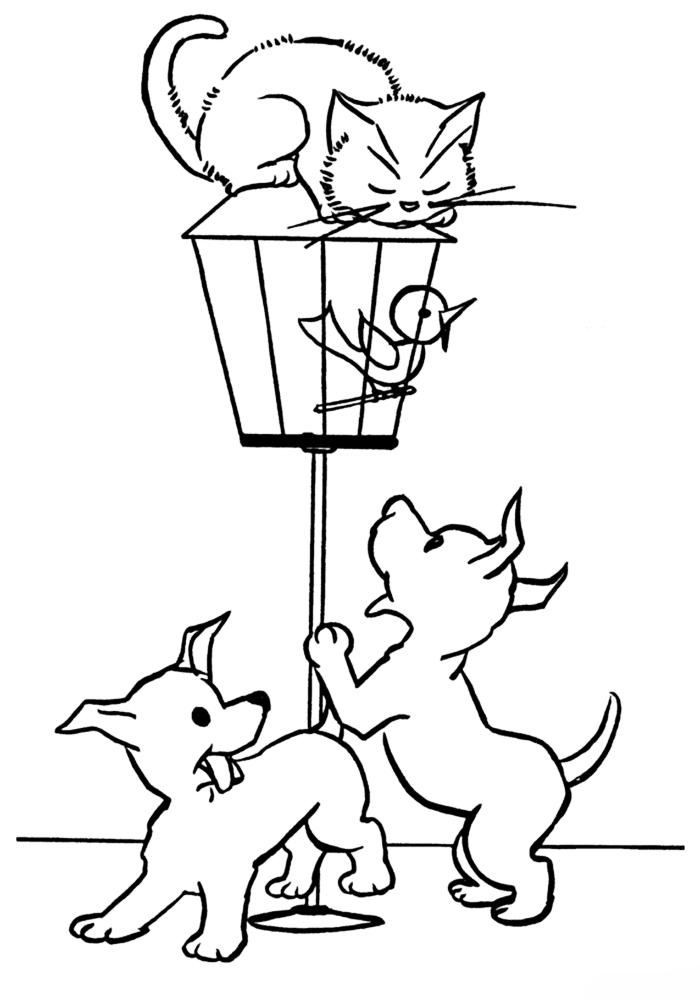 Картинки котят и щенят раскраски