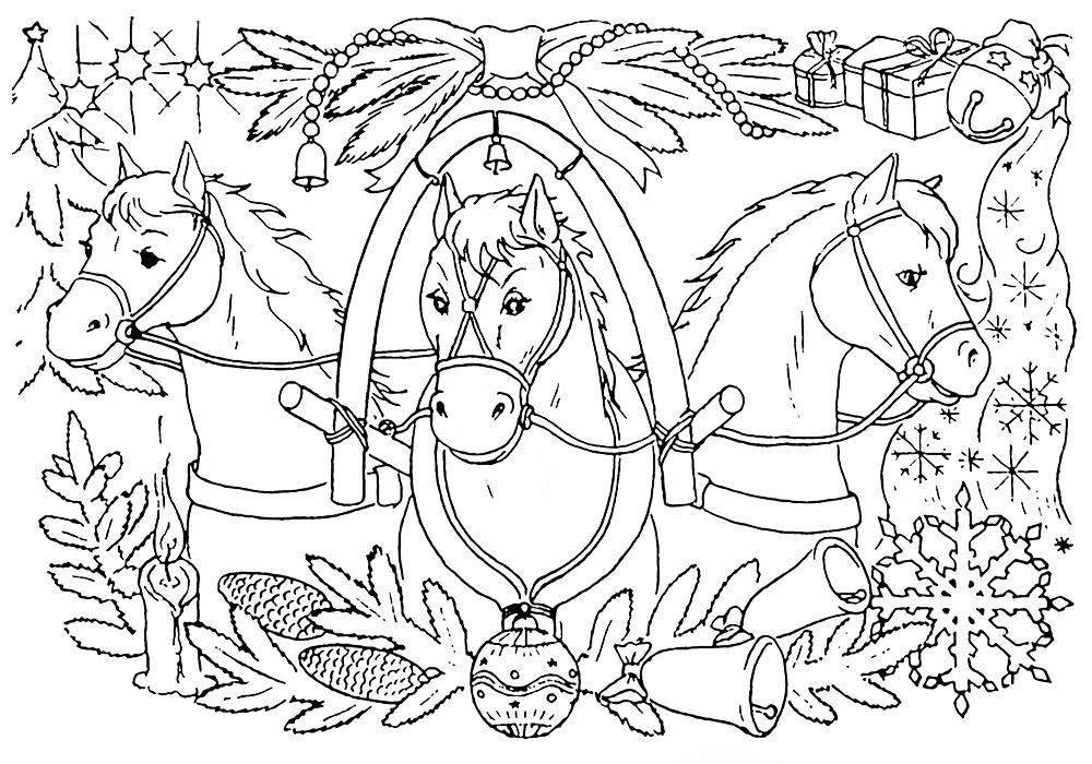болотный рисунок тройка лошадей с санями карандашом фонтан