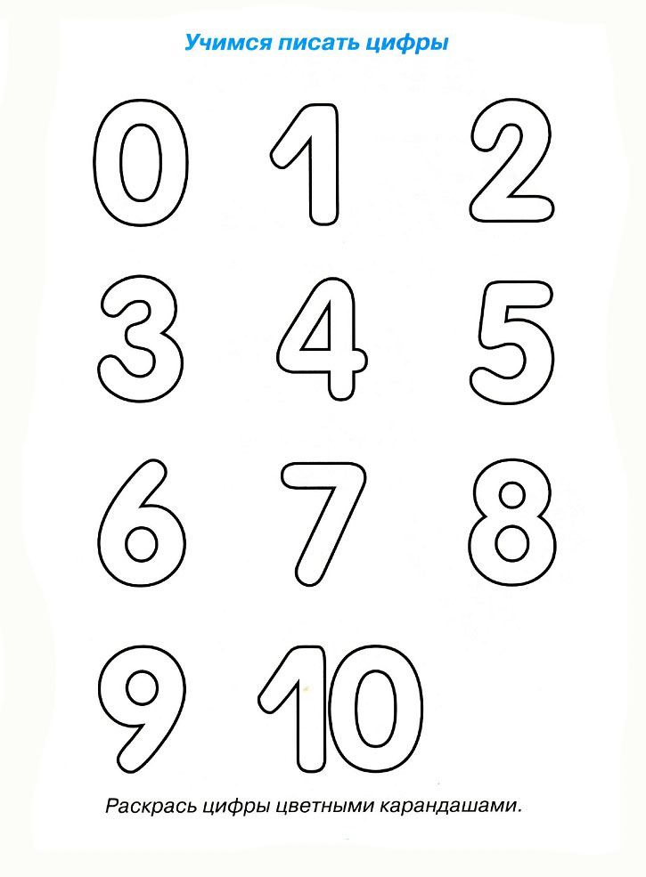 раскраски прописи цифры
