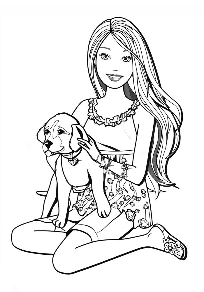 Раскраска девочка с собачкой распечатать