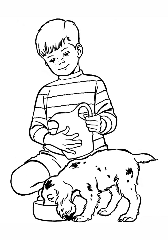 Картинка мальчик с собакой нарисовать