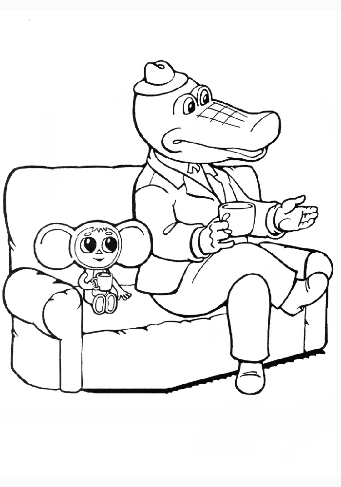 Раскраска крокодил Гена и Чебурашка
