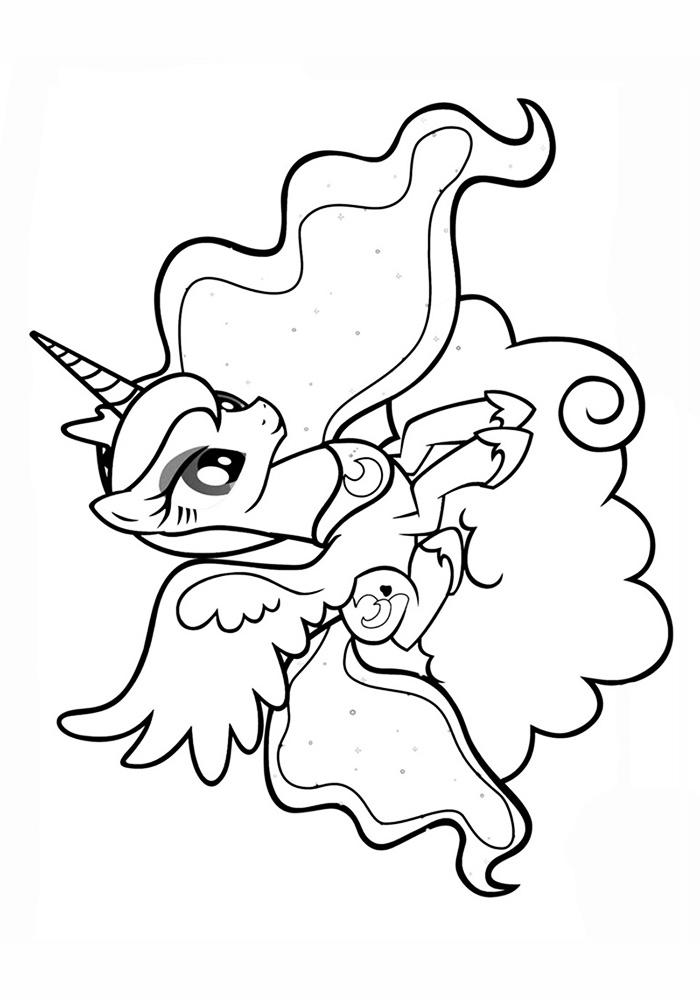 раскраска принцесса луна пони