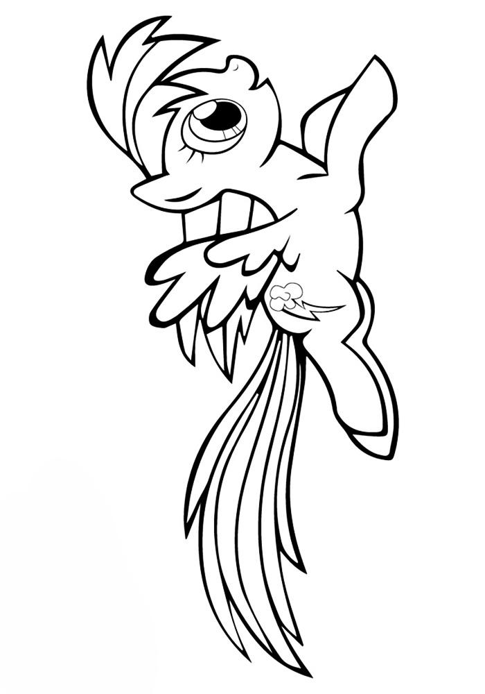 Раскраска пони Радуга распечатать