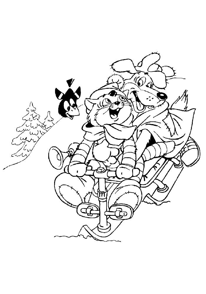 зима в простоквашино картинки раскраски для