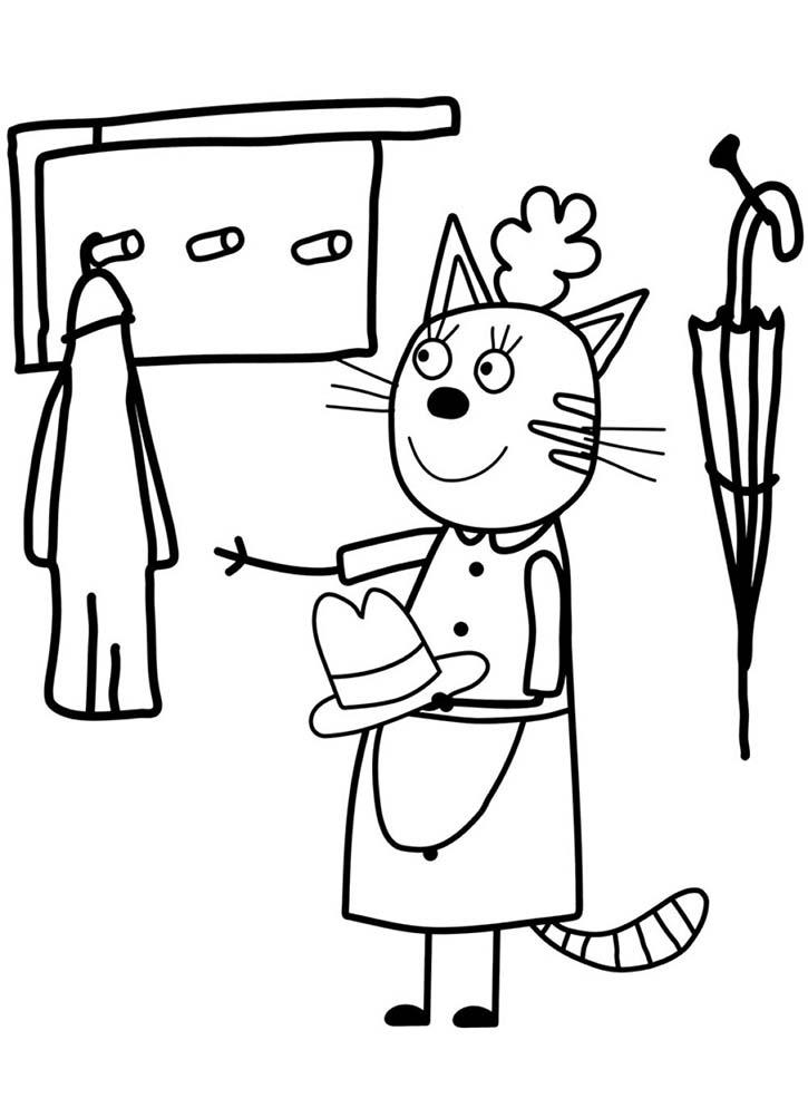 Три кота мама раскраска